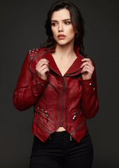 red studded faux leather jacket