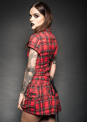 Red plaid punk mini dress