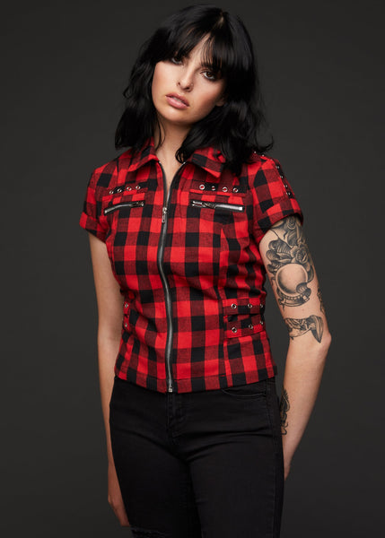 red plaid punk shirt