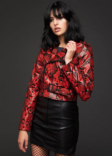 red snake moto jacket