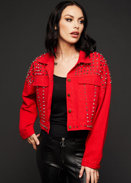 red studded denim jacket