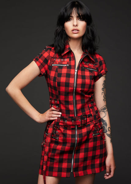 red plaid punk dress