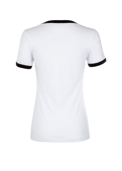 white retro ringer tee