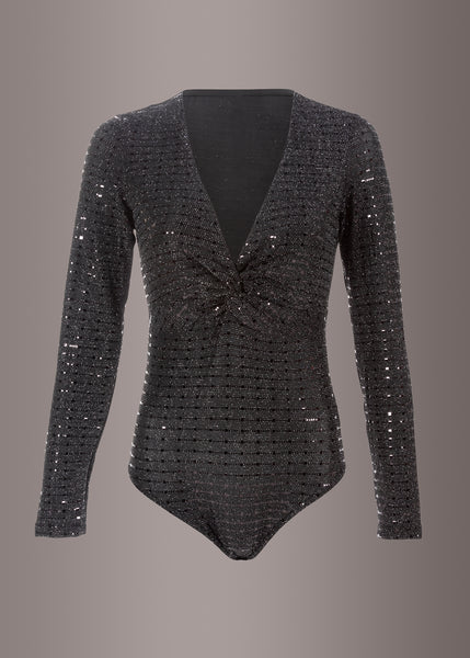 Sequin Long Sleeve Bodysuit Sexy Sparkle Glitter V Neck Top