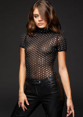 sheer black bodysuit with studs