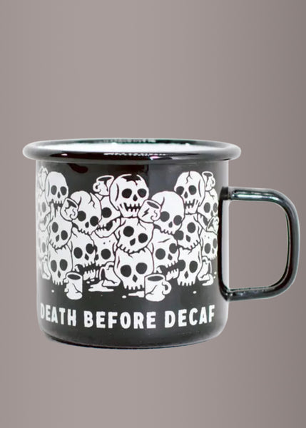 Death Before Decaf Enamel Skull Coffee Mug