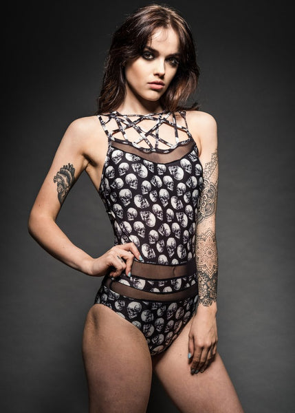 skull one piece bathing suit