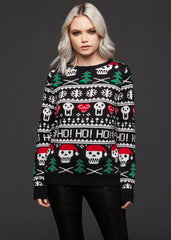 ugly xmas sweater with skulls