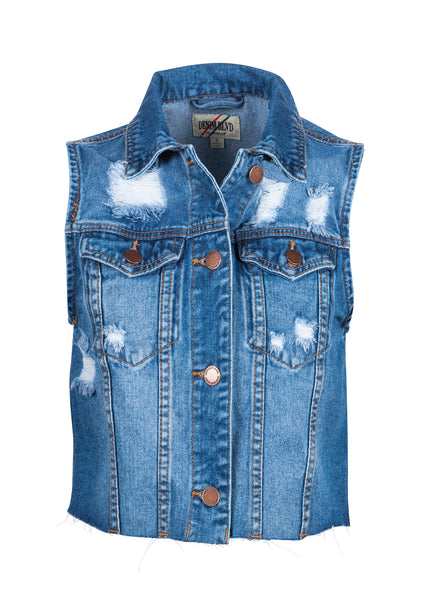 sleeveless denim vest