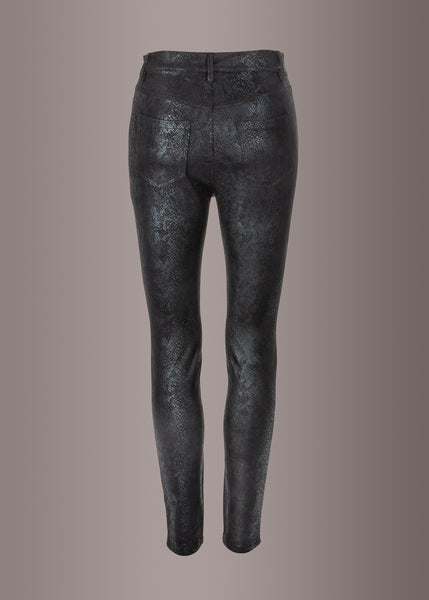 black leather snakeskin pants