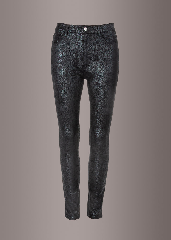 black snakeskin pants