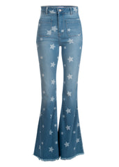 star denim flare pants