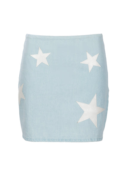 Denim Mini Skirt with Star Patches