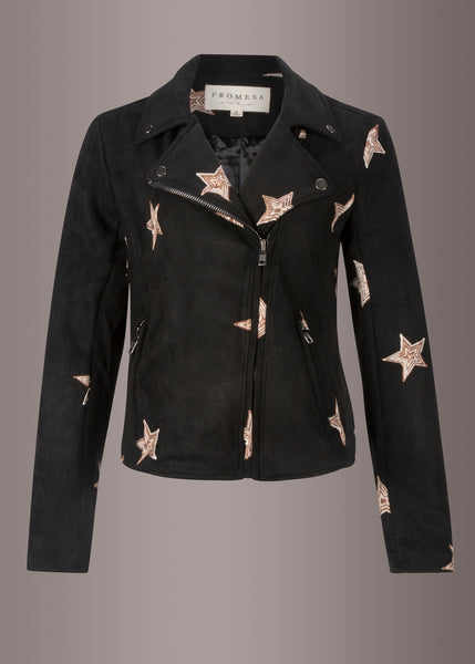 star print short coat