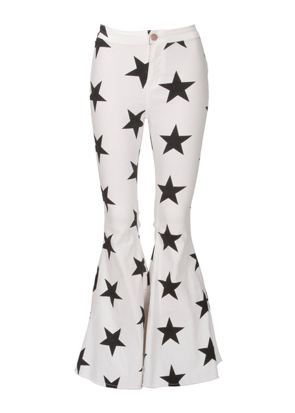 star print bell bottoms