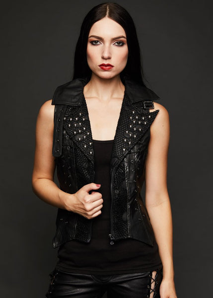 black leather vest with studs
