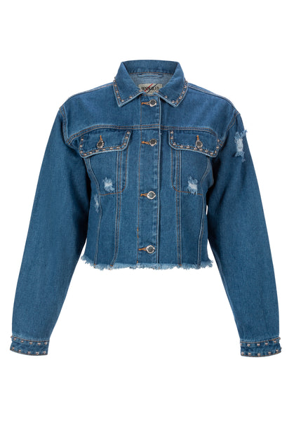 Blue Jean Baby Cropped Denim Jacket with Studs