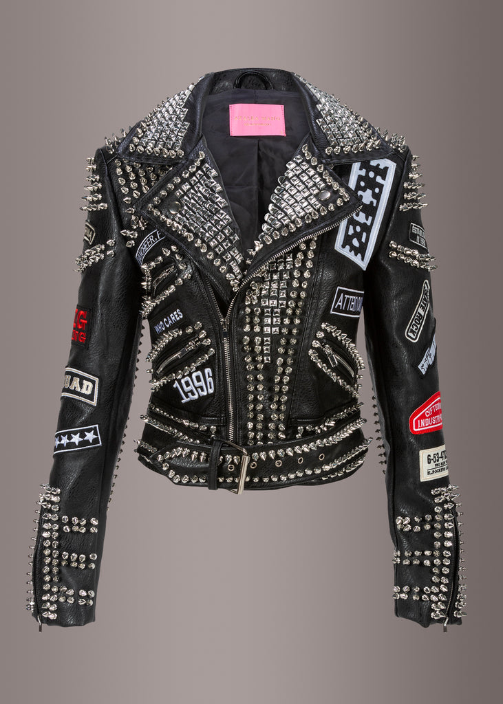 studded leather jacket with patches