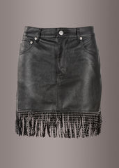 Black Faux Leather Studded Mini Skirt with Fringe