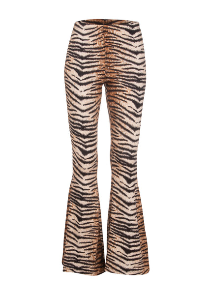 tiger print bell bottom pants