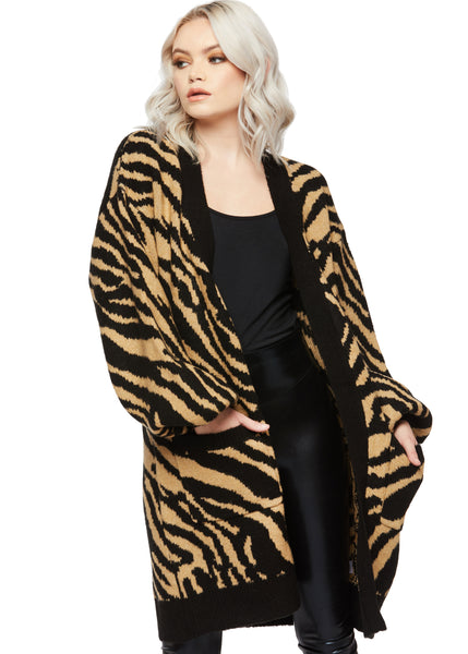 tiger print cardigan sweater