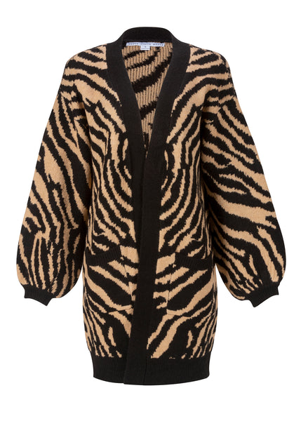 tiger print knit cardigan