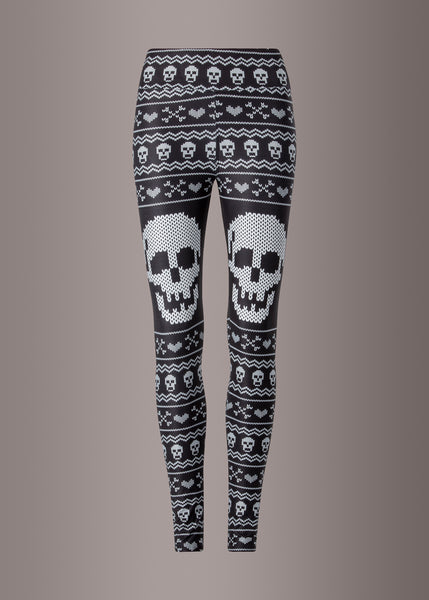 ugly christmas sweater leggings with skulls