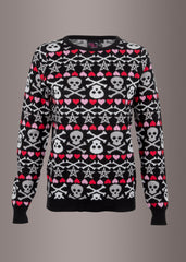 Ugly christmas sweater with skulls