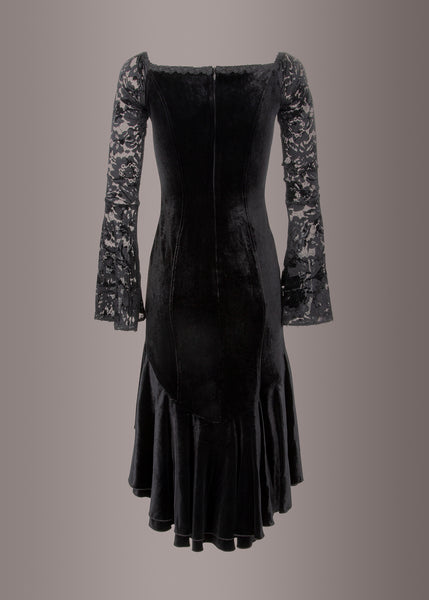 velvet and lace goth dress