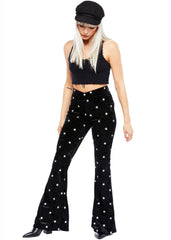 velvet star print bell bottoms