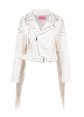 white leather fringe jacket