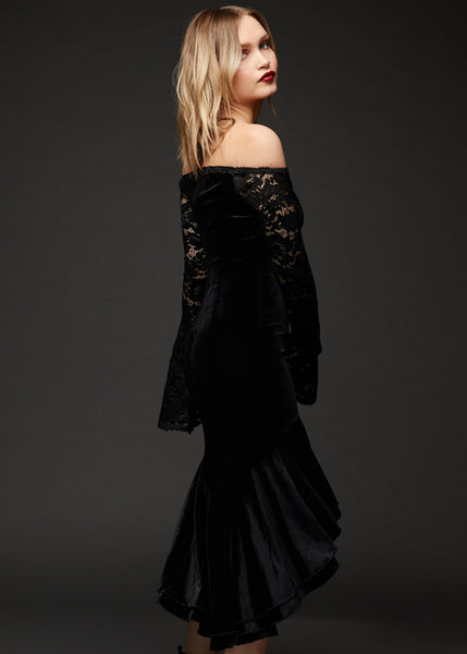 witchy black velvet dress