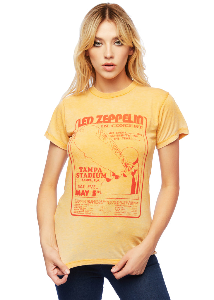 YELLOW LED ZEPPELIN TAMPA STADIUM BAND SHIRT BY DAYDREAMER LA