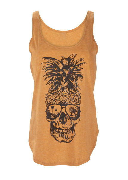Tropical Vibes Yellow Pineapple Skull Top