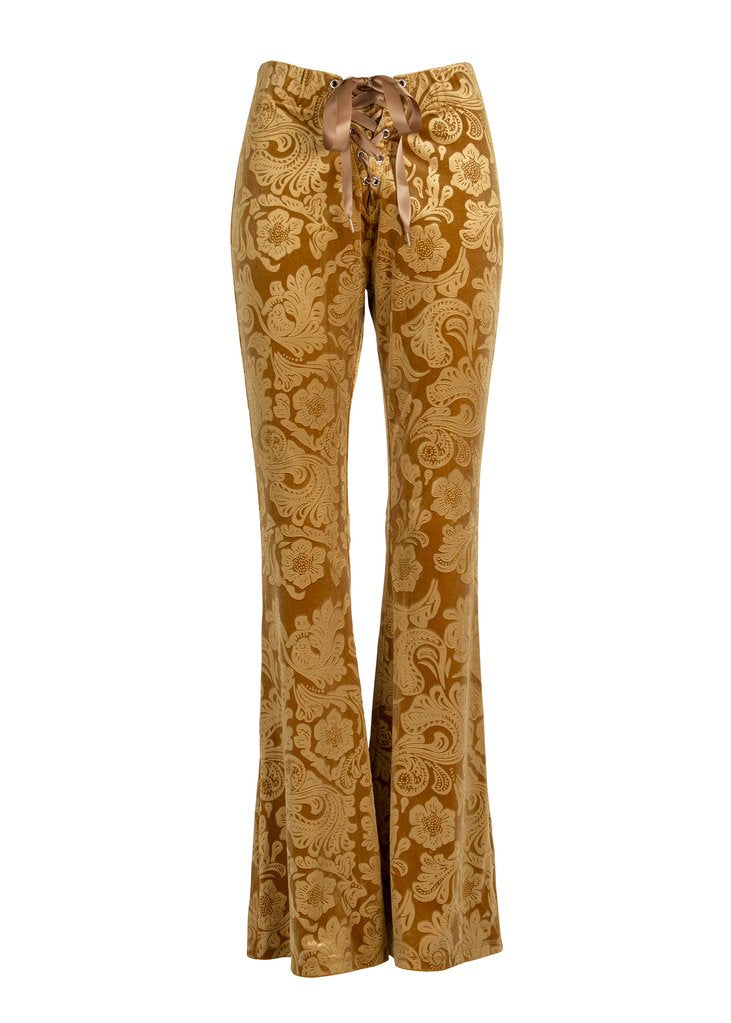 yellow velvet flare pants