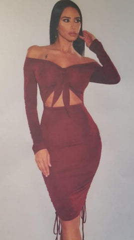 Pretty in Bow Dress- Burgundy