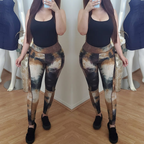 Totally Tie dye  Leggings - Brown