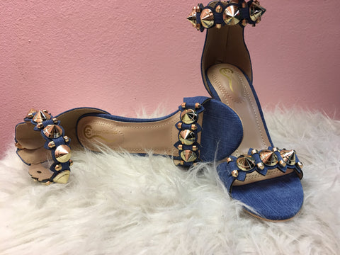 Gold studded Jean Heels