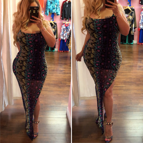 Ionic Multi Color Snake Midi Dress