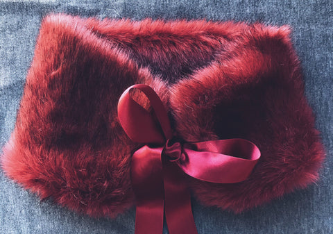 Holiday Glam Fur Collar in Holly Berry - Chapel and Rose