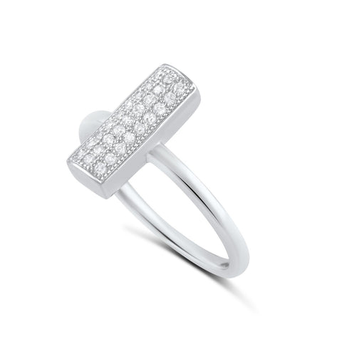 Sterling Silver Simulated Diamond Bar Ring - SilverCloseOut - 1
