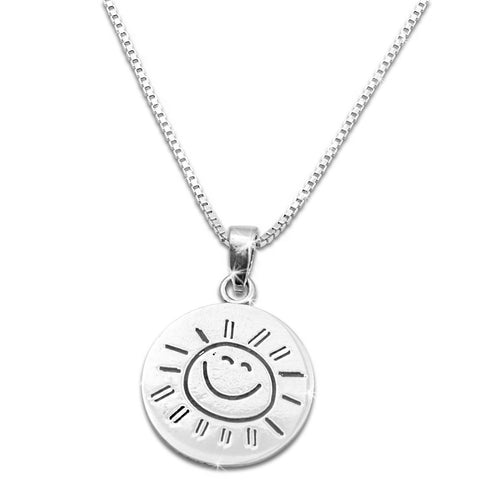 "Sterling Silver ""You are my Sunshine my only Sunshine"" Necklace Small (18"" chain included) - SilverCloseOut - 1"
