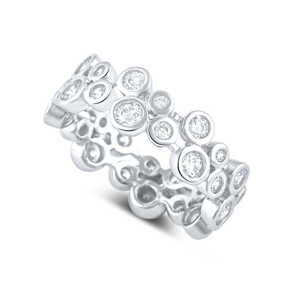 Sterling Silver Cz Double Zig Zag Eternity Ring - SilverCloseOut - 1