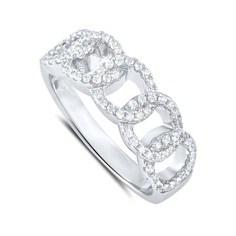 Sterling Silver Simulated Diamond Chain Link Ring - SilverCloseOut - 1
