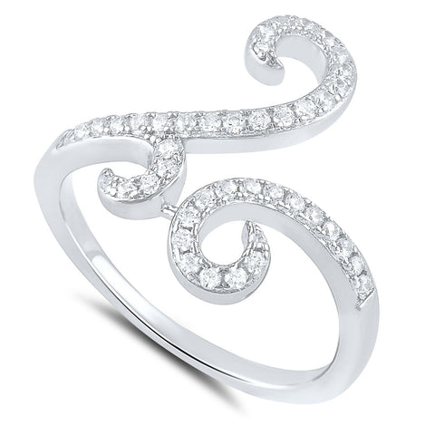 Sterling Silver Simulated Diamond Free Form Spiral Ring - SilverCloseOut - 1