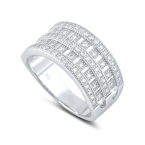 Sterling Silver Simulated Diamond Checker Ring - SilverCloseOut - 1