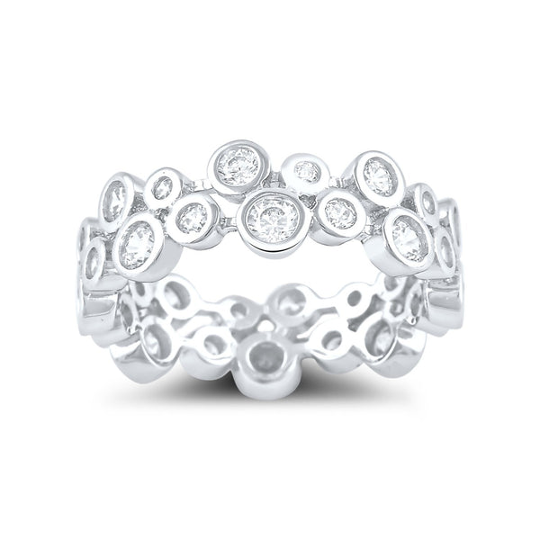 Sterling Silver Cz Double Zig Zag Eternity Ring - SilverCloseOut - 2