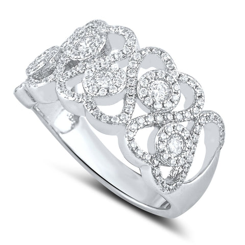 Sterling Silver Simulated Diamond Repeating Heart Ring - SilverCloseOut - 1