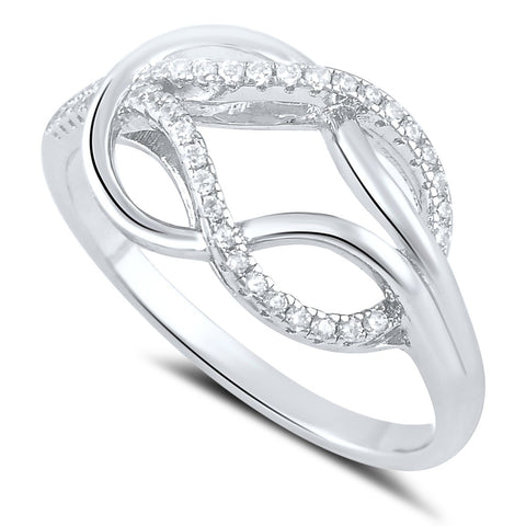 Sterling Silver Simulated Diamond Love knot Ring - SilverCloseOut - 1