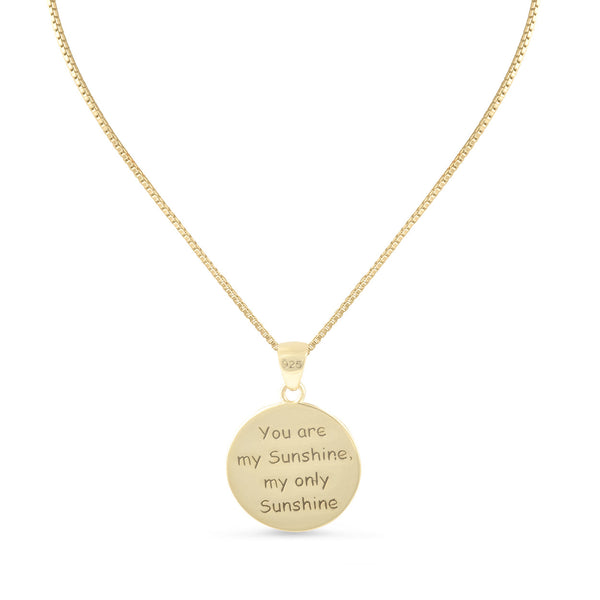 "Sterling Silver ""You are my Sunshine my only Sunshine"" Necklace Small (18"" chain included) - SilverCloseOut - 6"
